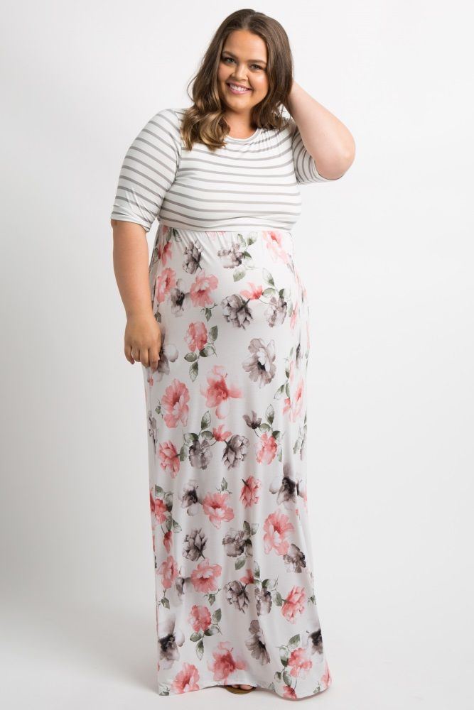bcea714381 Ivory Striped Floral Plus Maternity Maxi Dress