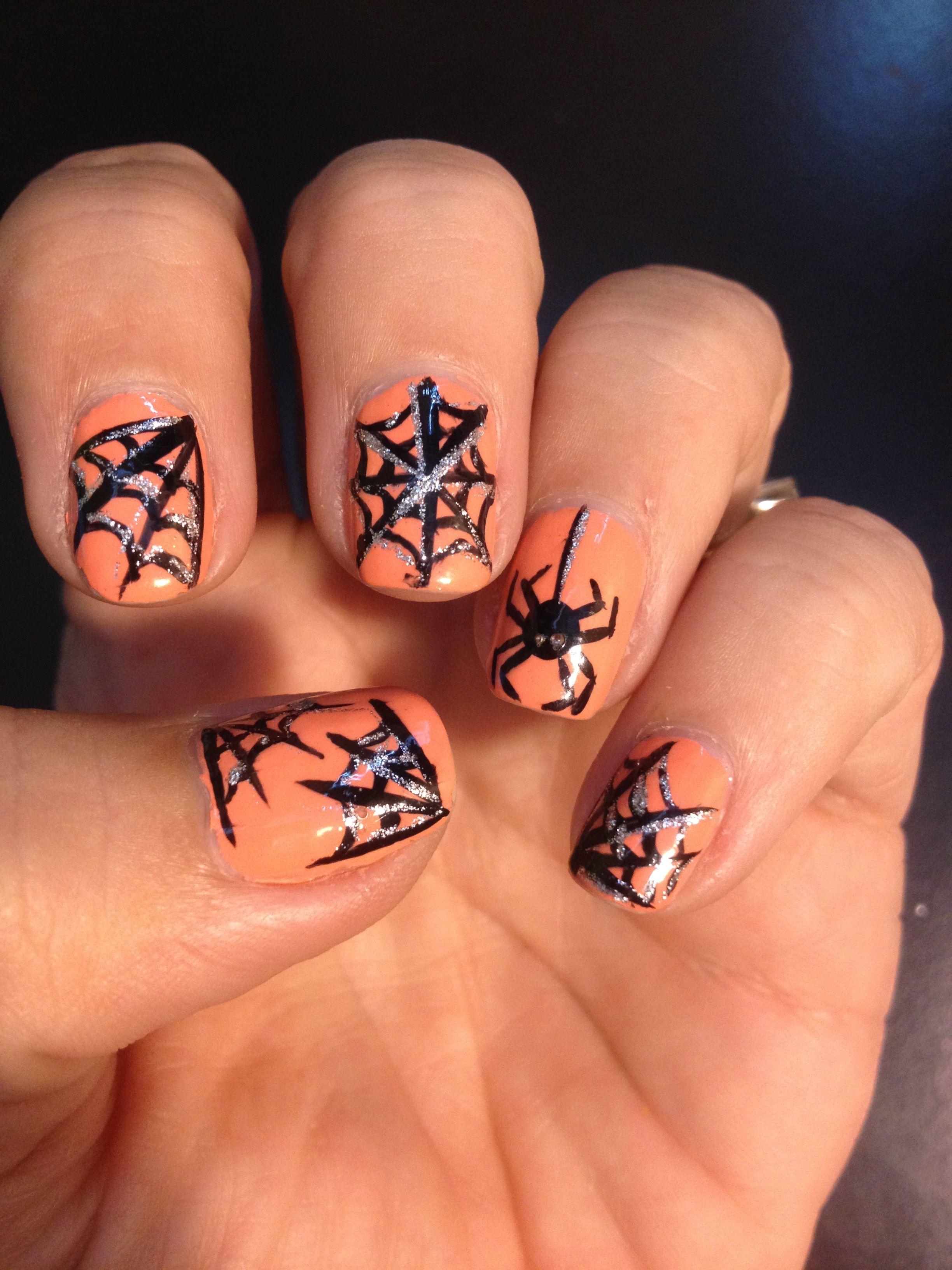 Spooky Halloween Nails Orange Acrylic Nails Halloween Nails Halloween Acrylic Nails