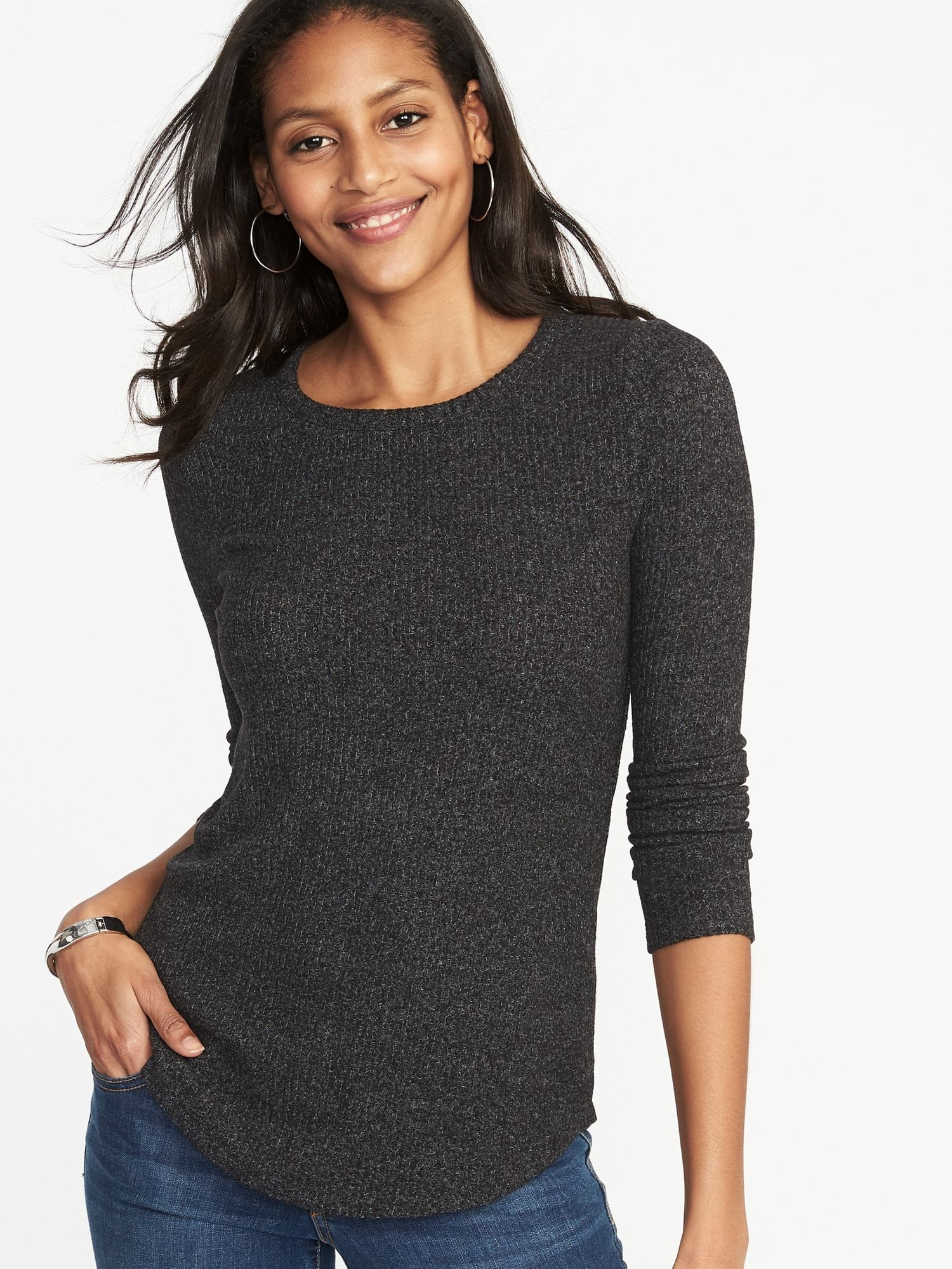 b99569855c Crew-Neck Sweater for Women. Slim-Fit Luxe Rib-Knit Top for Women