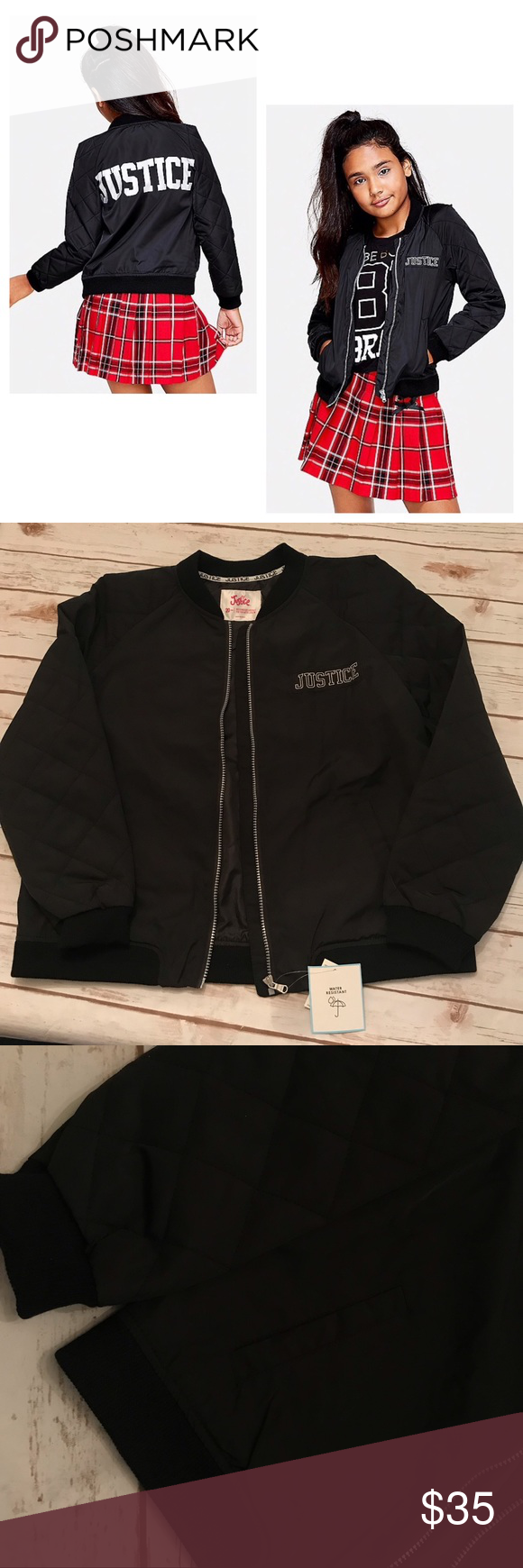 914a838a627d Justice Quilted Logo Bomber Jacket 20 PLUS NWT in 2018