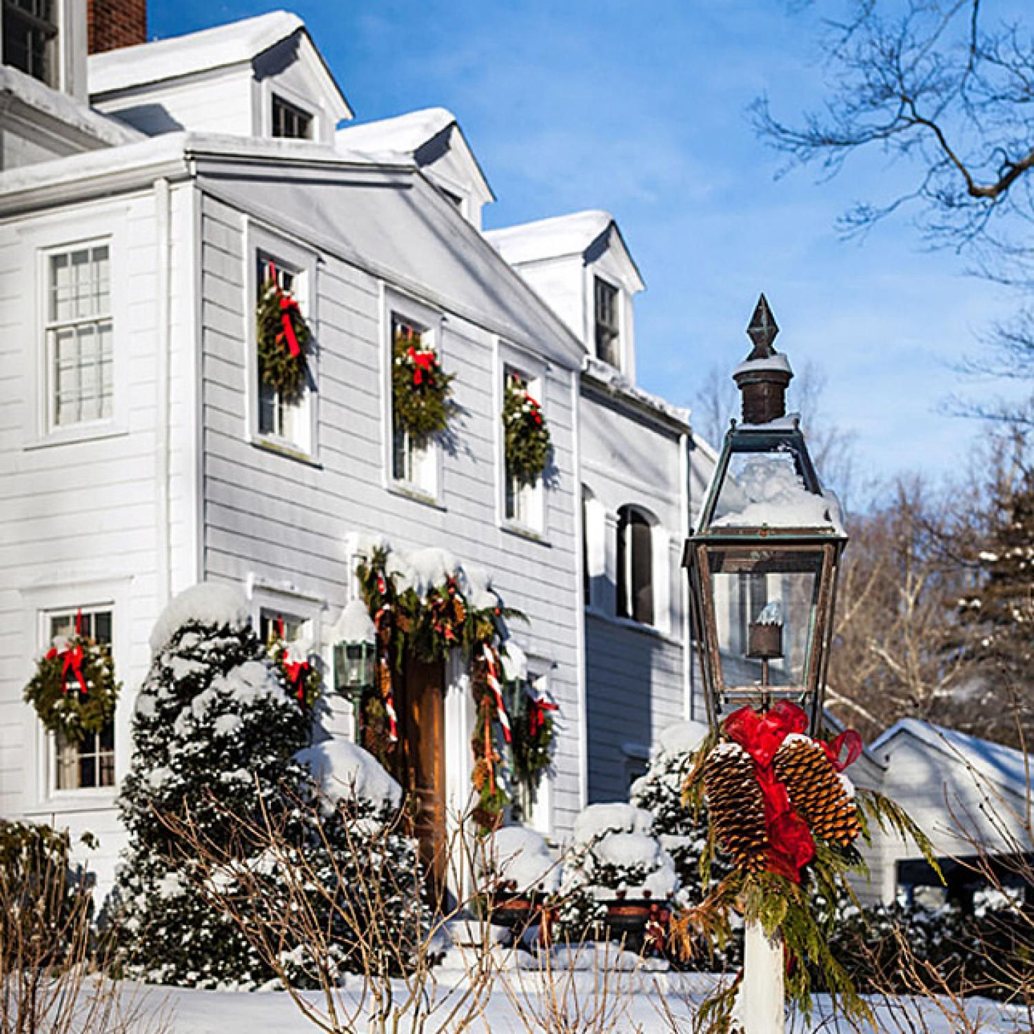 Christmas in a New England Clapboard Christmas in