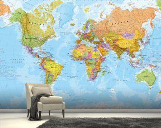 Political World Map Mural Wallpaper Wallpaper Wall Murals