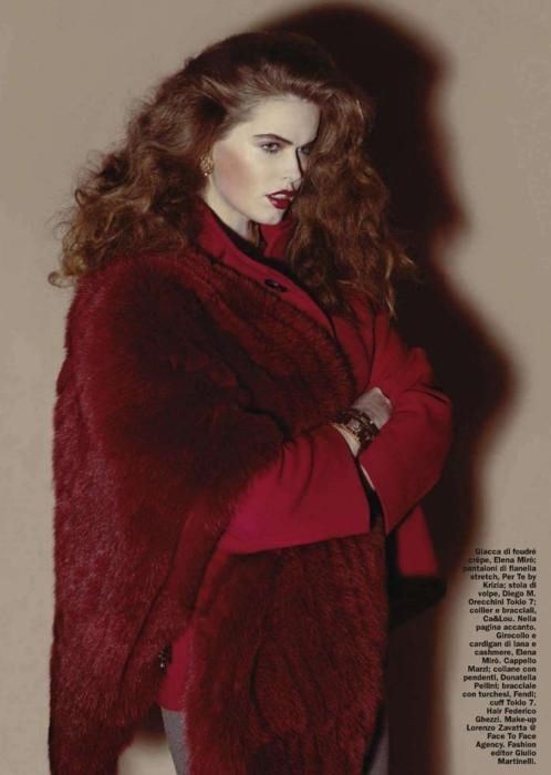 robyn lawley, model, plus size model, curvy, redhead, red fur, couture, editorial, audrey kitching