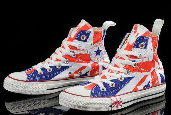 3da200a6985f High Tops Converse British Flag London UK English Flag Print Red Blue Chuck  Taylor All Star Canvas Sneakers  converse  shoes