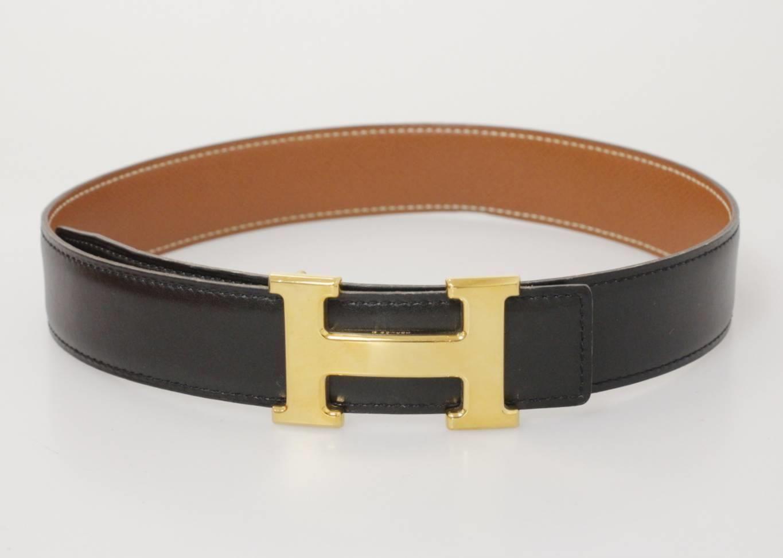 54b3a85115d2a Hermes Women's Belt (Ladies Pre-owned Black & Tan Leather H Buckle  Reversible Belt)