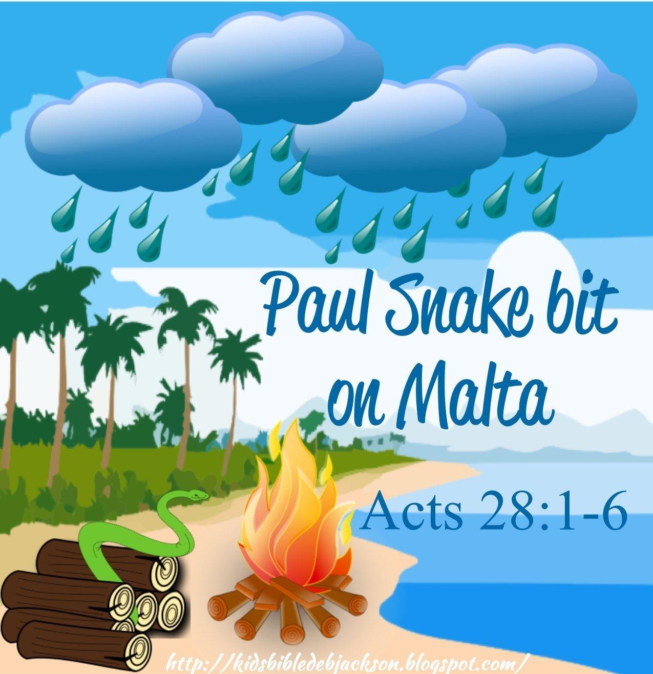 bible fun for kids paul is bit by a snake on malta bible paul