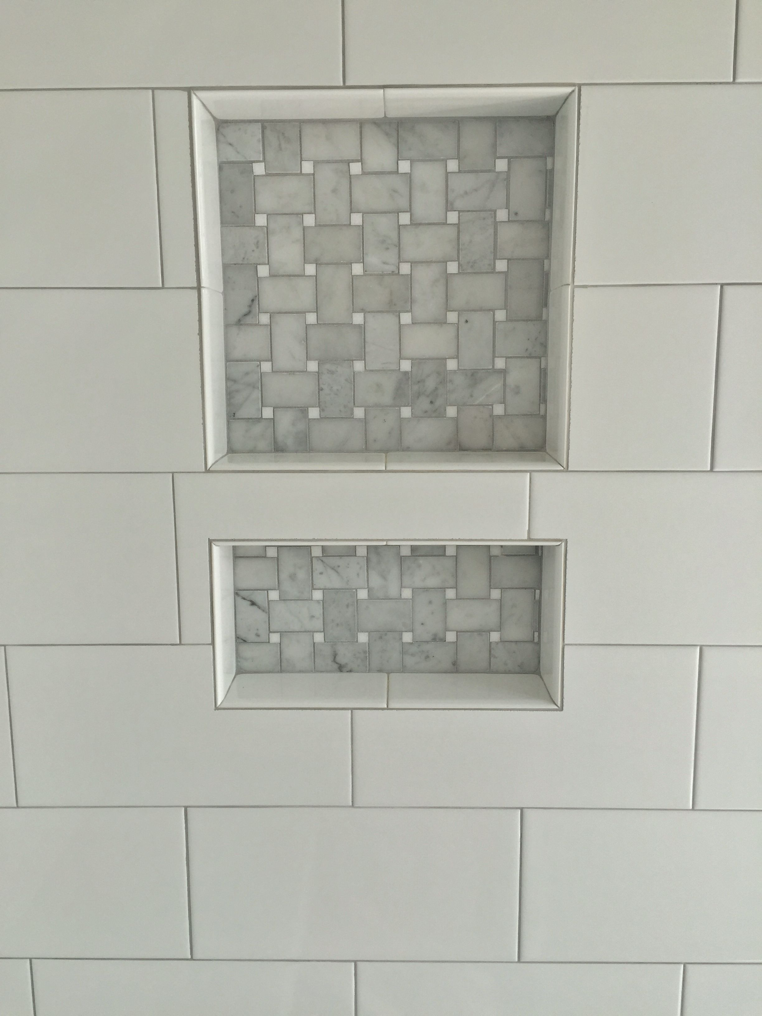 6x12 White Porcelain Tile With Stone Basketweave Accent In Niche