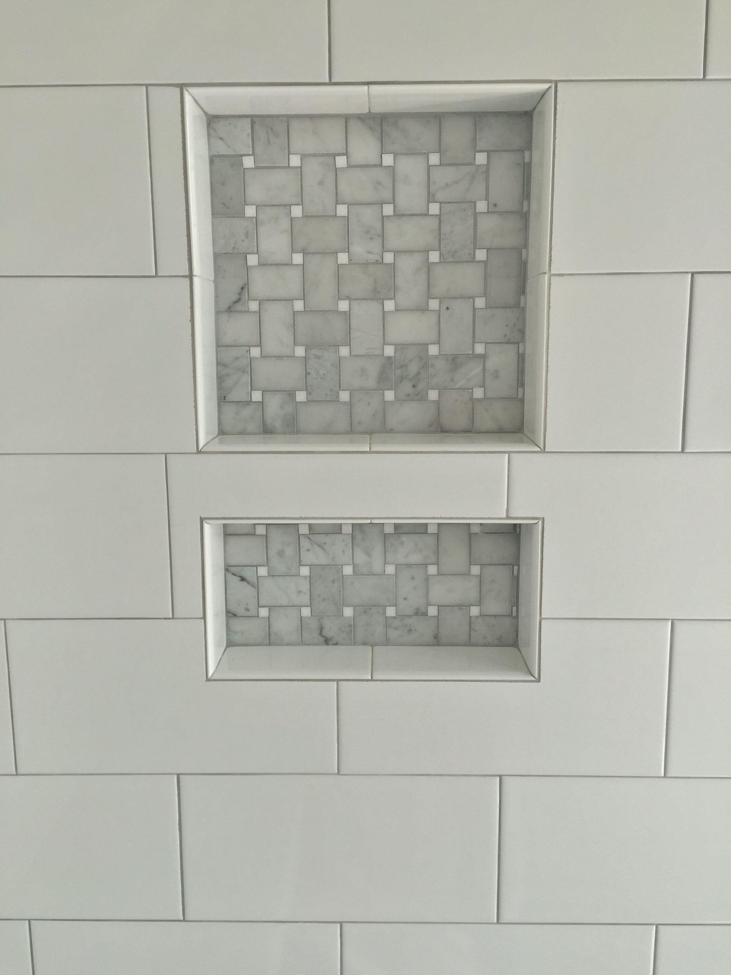 6x12 white porcelain tile with stone