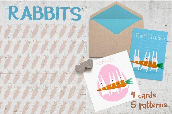 Easter rabbits greetings by Inoka on @creativemarket