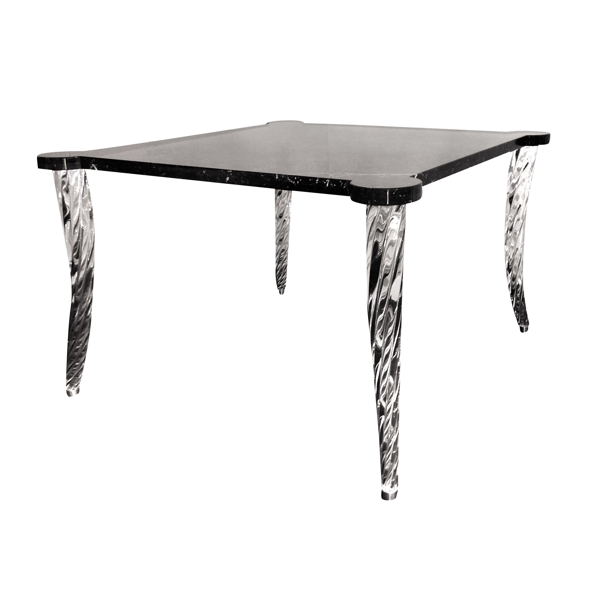 Eclisse table - Murano glass and Dark Marquinia marble - Italy