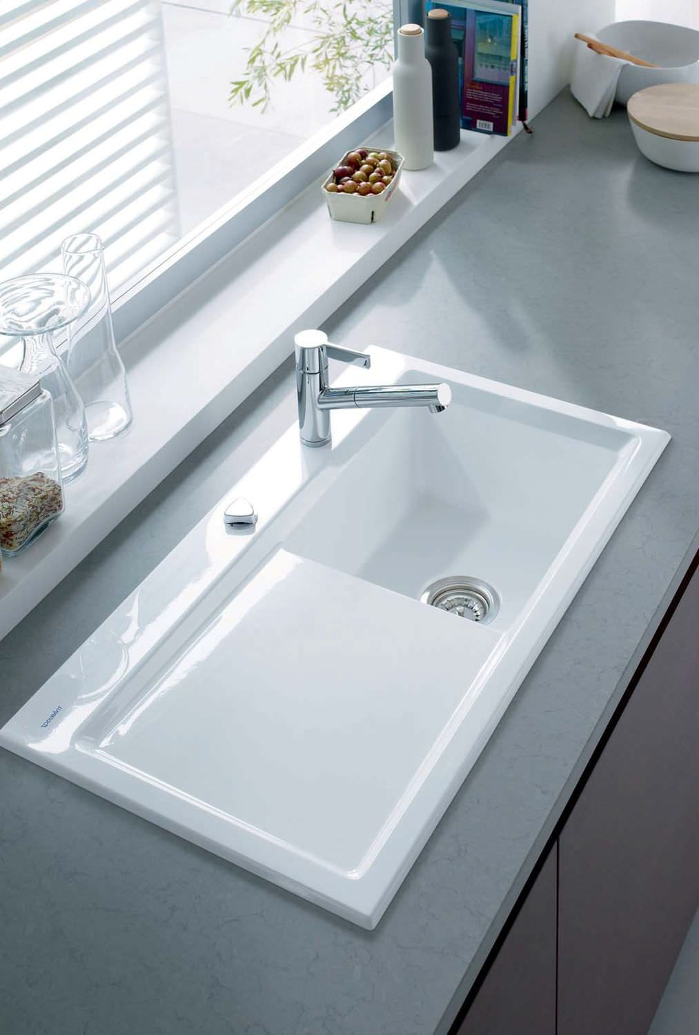 Kitchen Sink Ceramic With Drainboard By Sieger Design Duravit