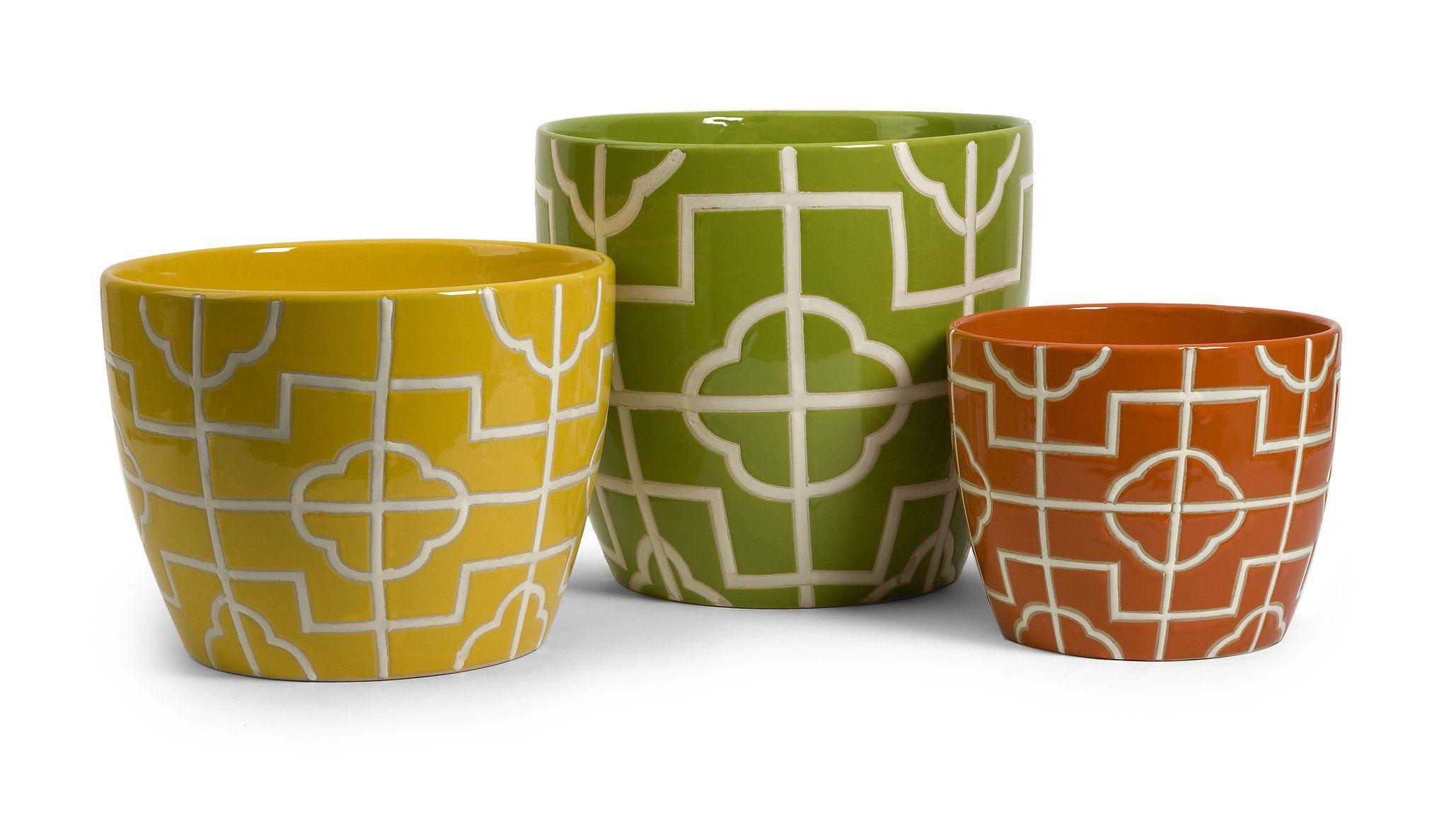 Imax 25105-3 Ceramic Ellis Graphic Planters - Set of 3