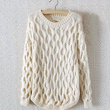 8a256f2cf4977 MEROKETTY®Women s Round Collar Solid Wavy Stripes Serratula Loose Pullover  Sweater -