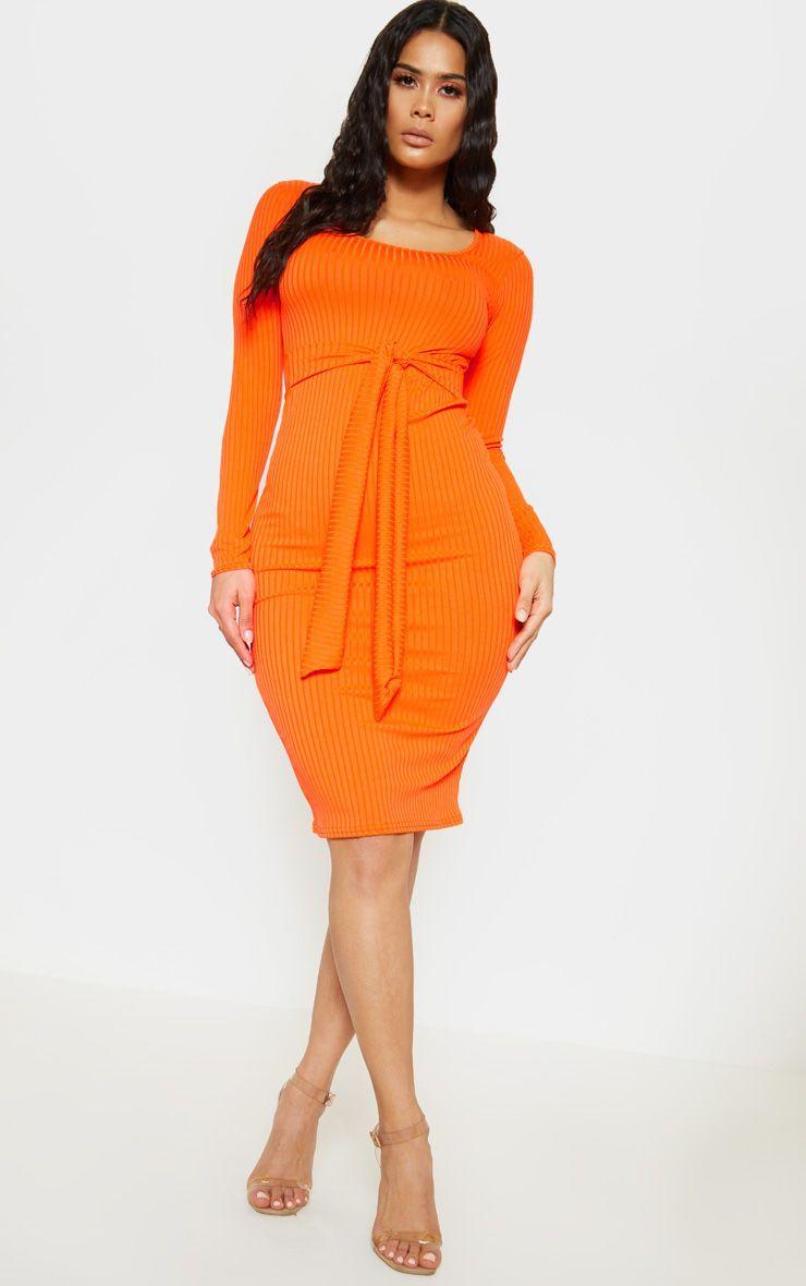 Orange Ribbed Long Sleeve Tie Waist Midi Dress Women Dress Online Midi Dress Womens Dresses [ 1180 x 740 Pixel ]