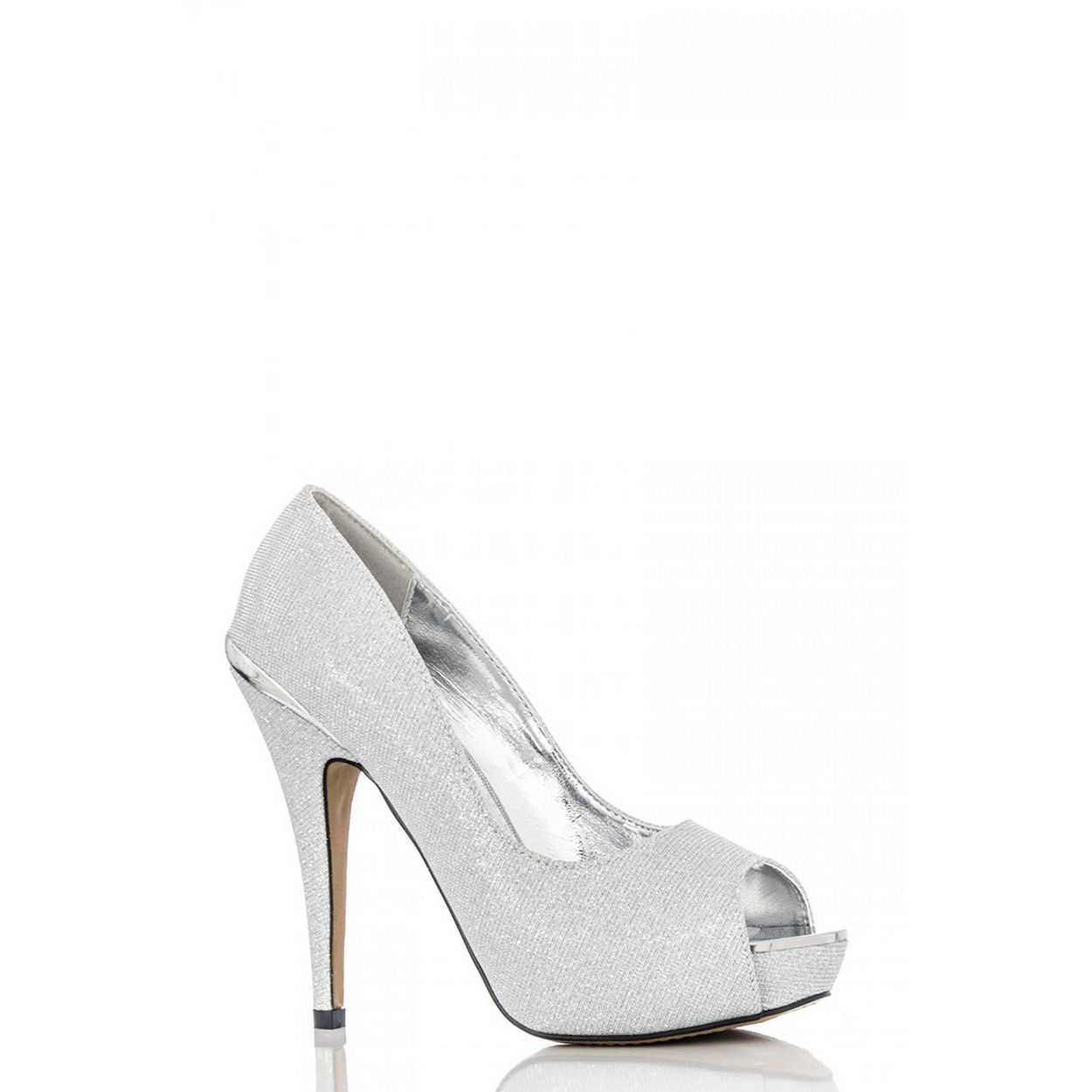 Quiz Silver shimmer platform shoes- at Debenhams.com