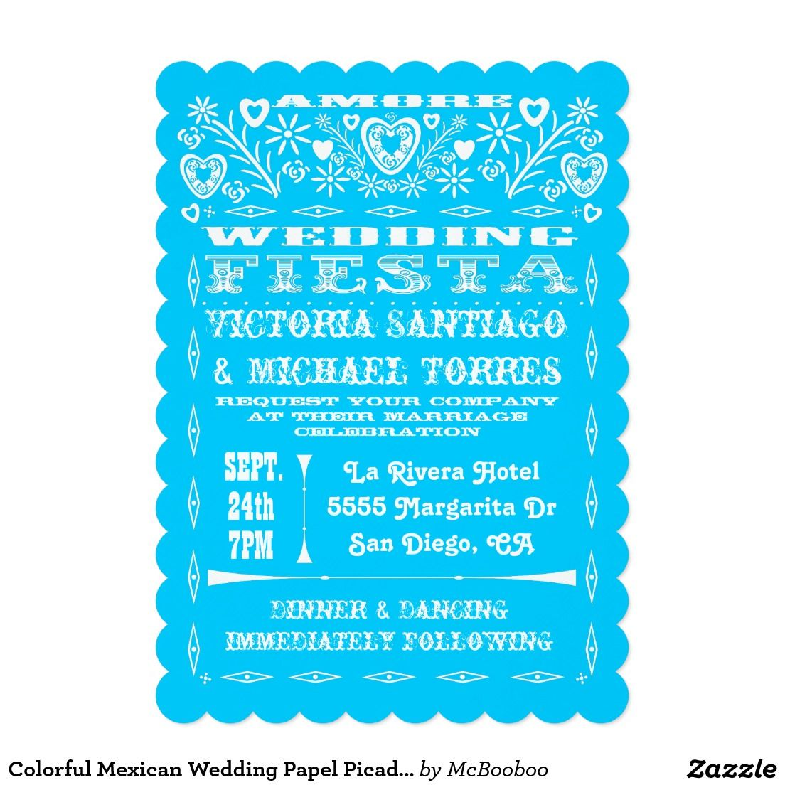 Colorful Mexican Wedding Papel Picado Invitation