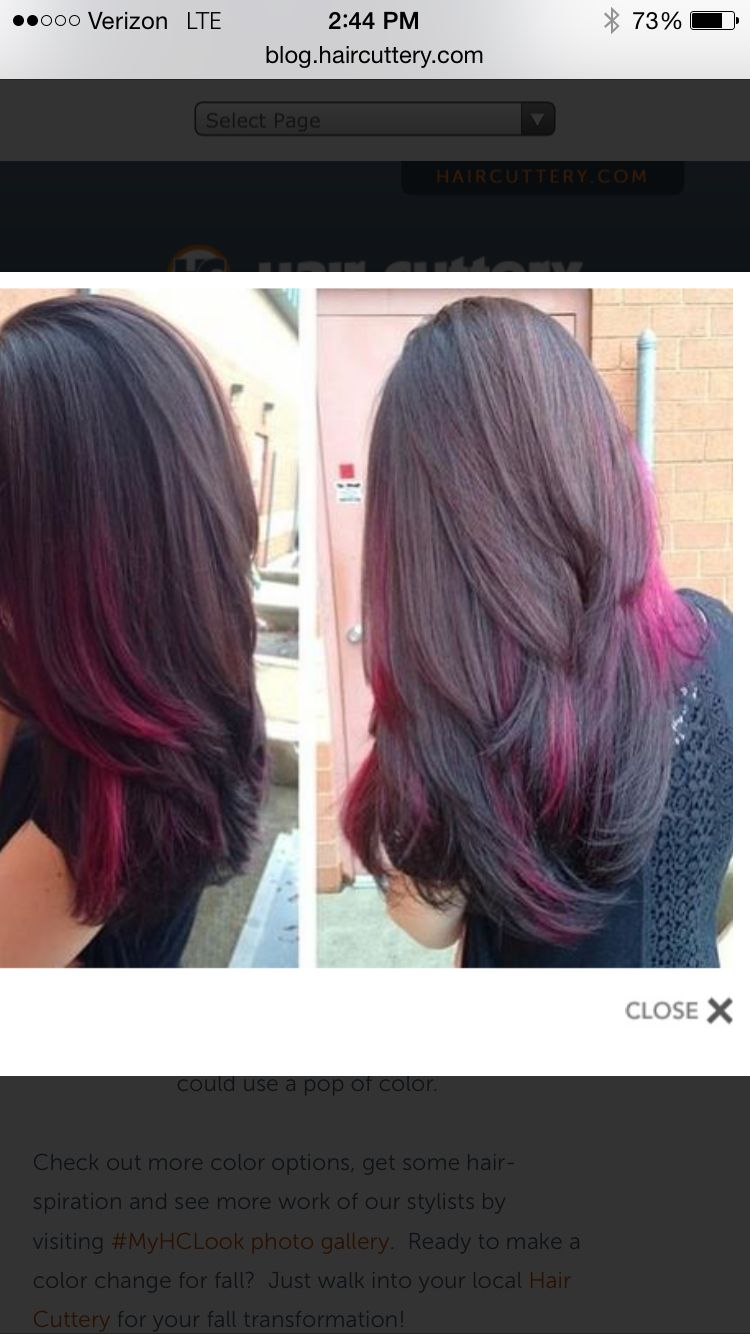 Highlight options via hair cuttery  Colored hair tips, Pink hair