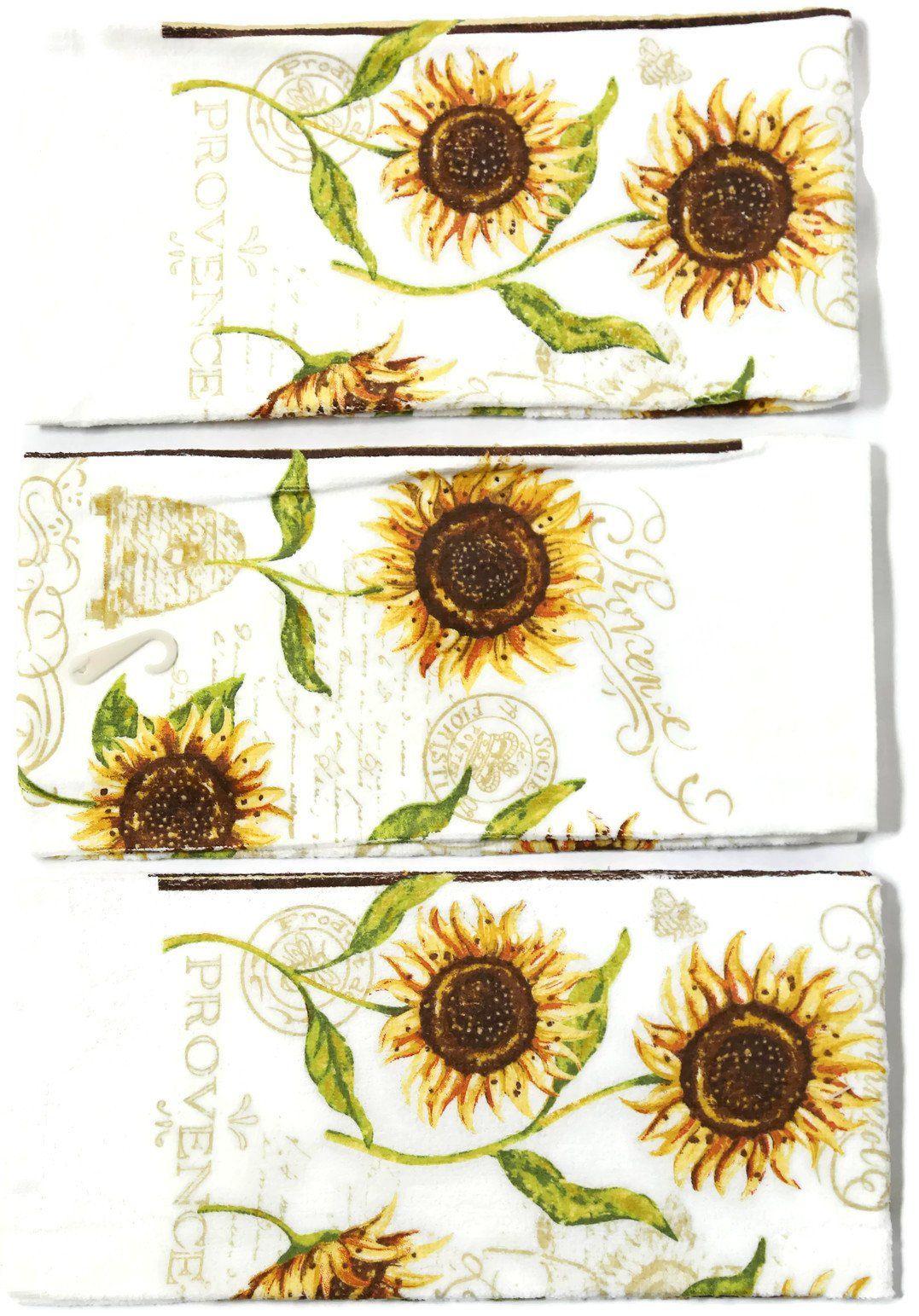 Amazon Com Designer 3 Pack Cotton Kitchen Towels Butterflies Sunflower Kitchen Kitchen Towels Sunflower Themed Kitchen