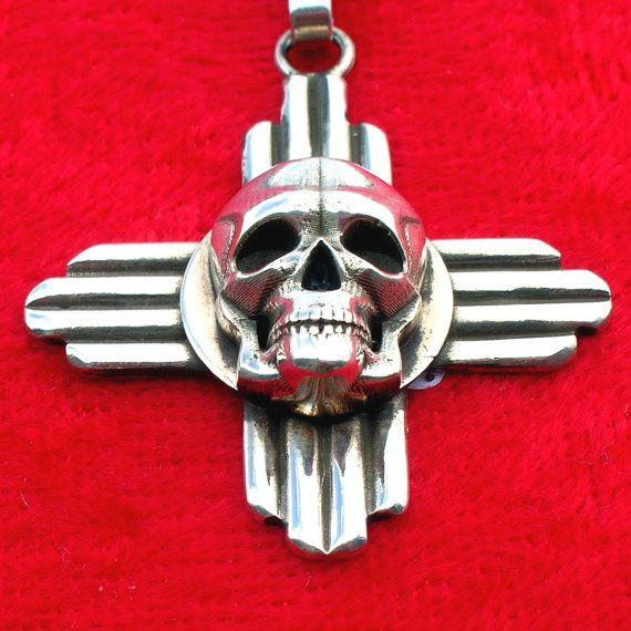 Ptzs New Mexico Zia Symbol Skull Silver Southwestern Style Pendant