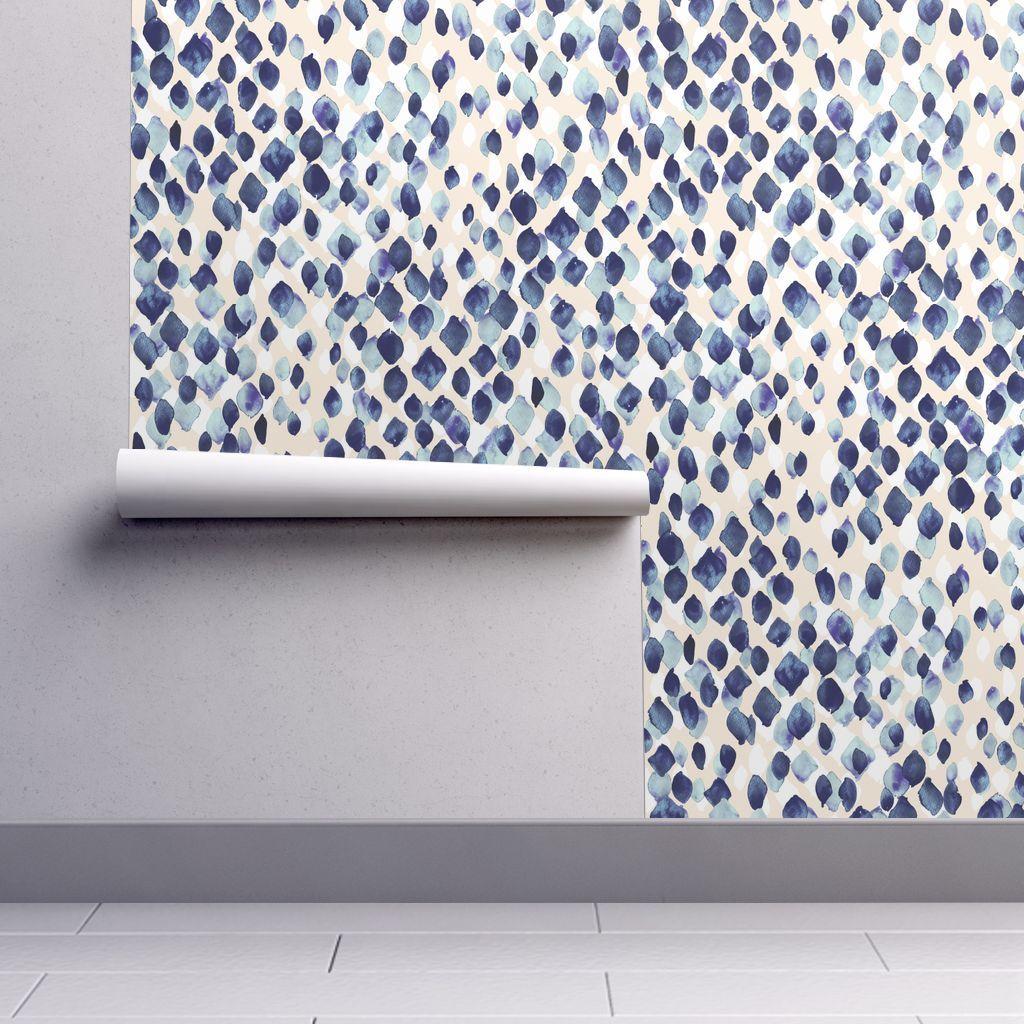 Colorful Fabrics Digitally Printed By Spoonflower Indigo Rain In 2021 Self Adhesive Wallpaper Wallpaper Calculator Blue Wallpapers