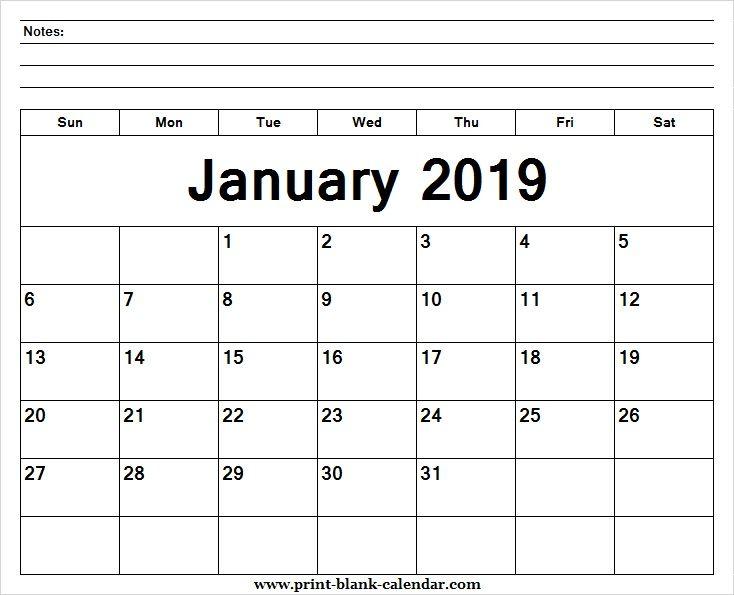 Cute Printable 2019 January Calendar Pretty Printblank Pinterest