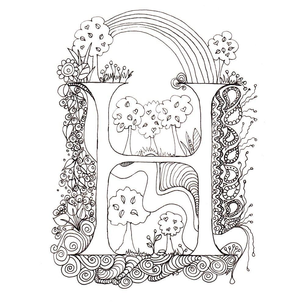 Monogram H Initial, ColourMeIn Illuminated Letters