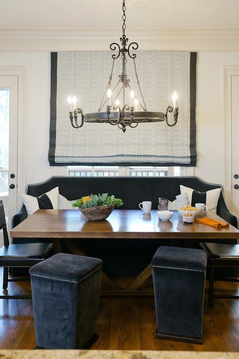 Amazing Dining Room With Custom Dark Blue Velvet Banquette Bench Silver Nailhead