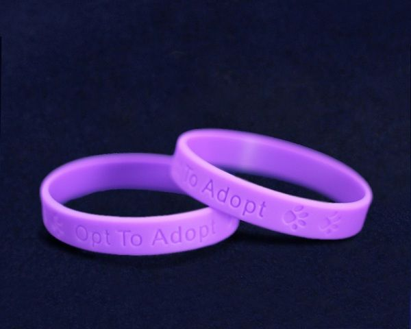 Fundraising For A Cause 50 Pack Animal Opt to Adopt Purple Silicone Bracelets Wholesale Pack - 50 Bracelets