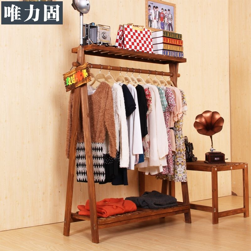 Weili s lido s lido ropa perchero de madera piso for Perchero de ropa