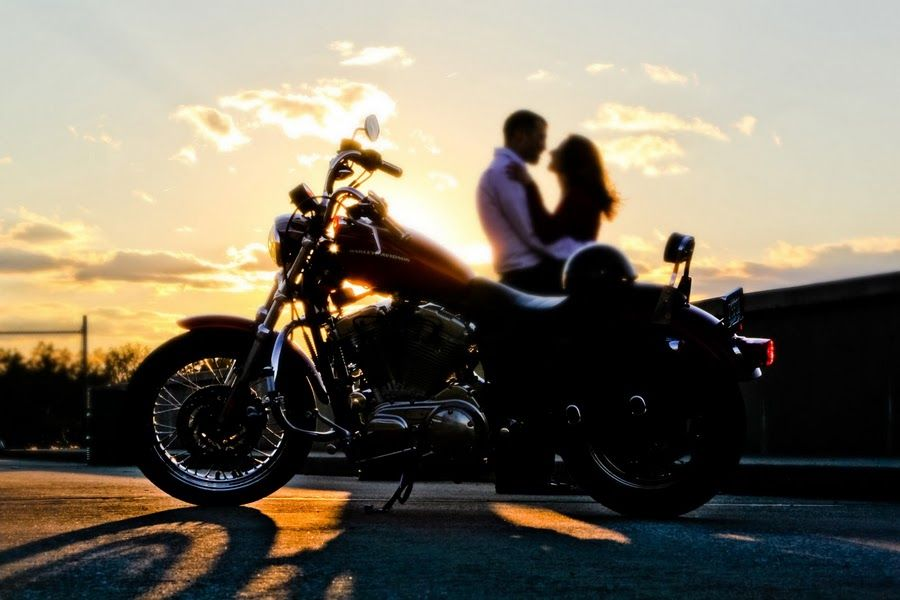 If Only The Harley Saddle Bags Were On It Motorcycle Wedding Biker Wedding Engagement Pictures