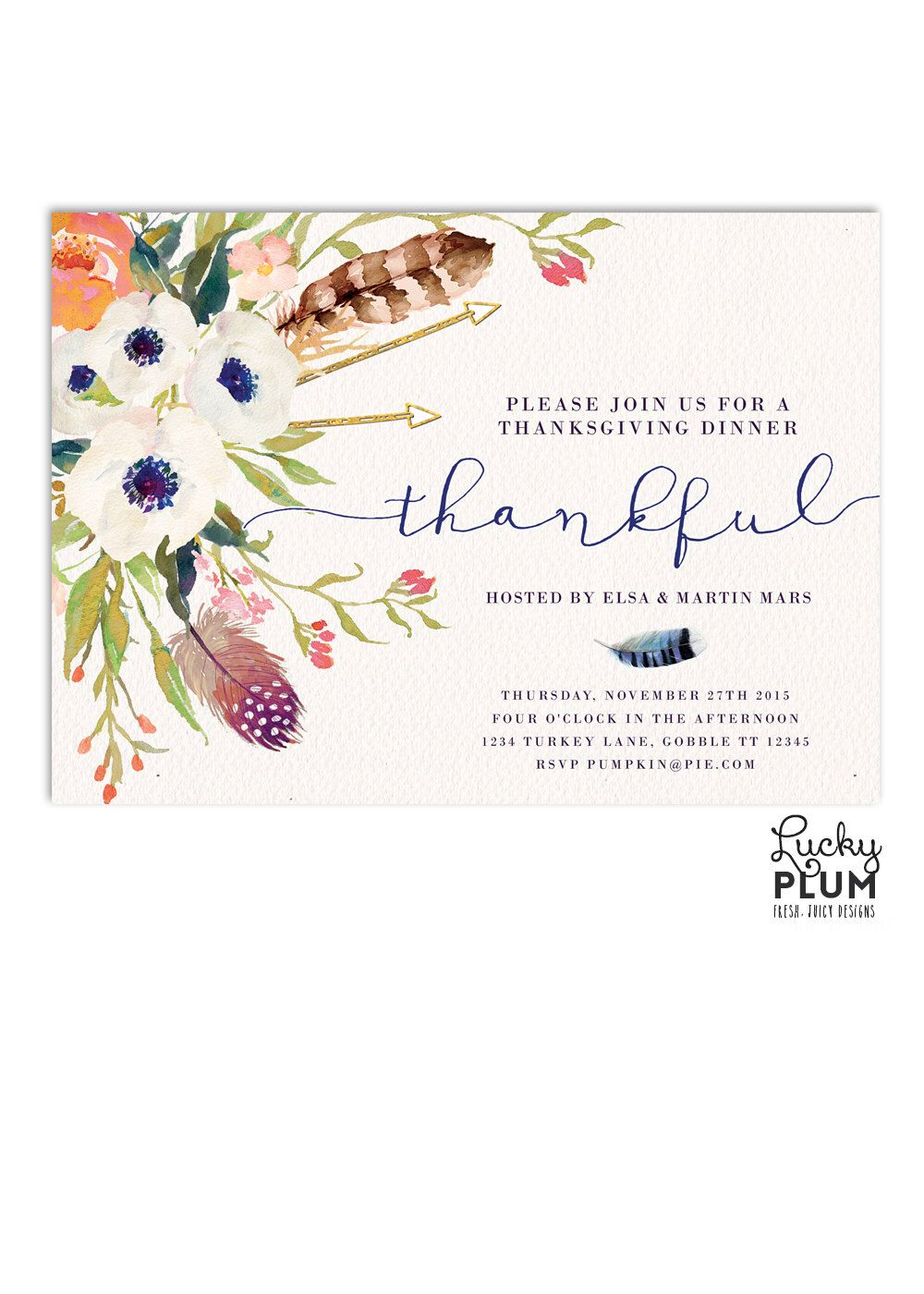 bridal shower invitations with recipe card attached%0A Thanksgiving Invitation   Autumn Harvest Invite   Potluck Invite   Fall Bridal  Shower Invitation   Fall