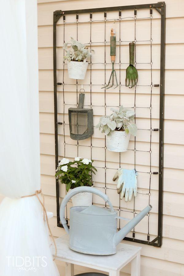 Craftberry Bush Repurposed crib garden tool hanger   www