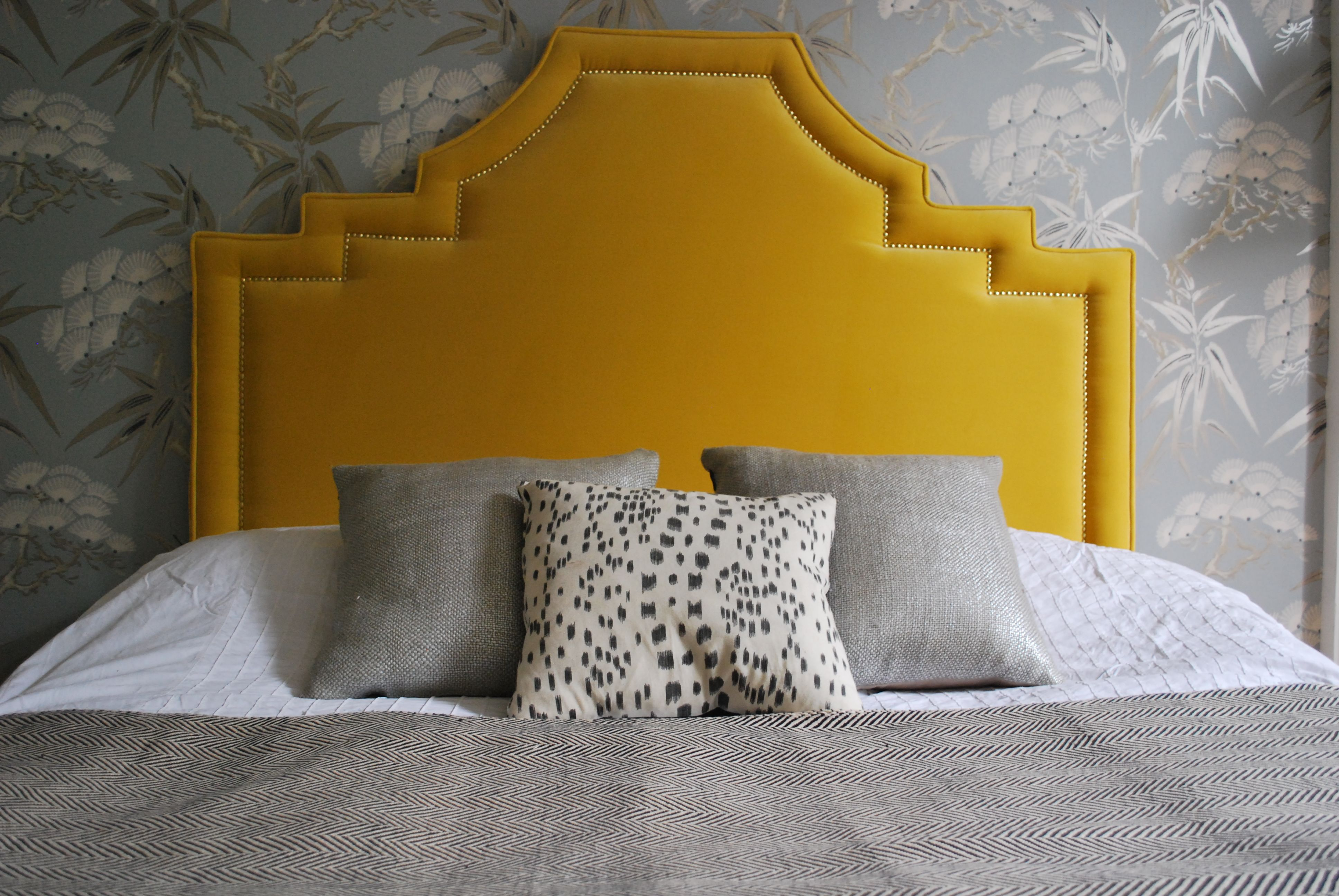 Hollywood Regency Mustard Yellow Velvet Headboard by Fantoush ...