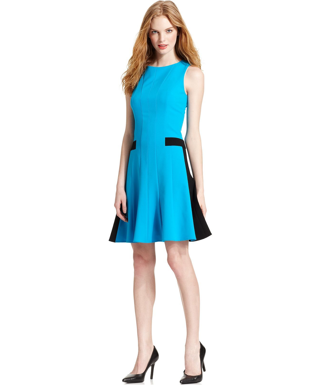 Calvin Klein Dress, Sleeveless Seamed Colorblocked A-Line - Dresses ...