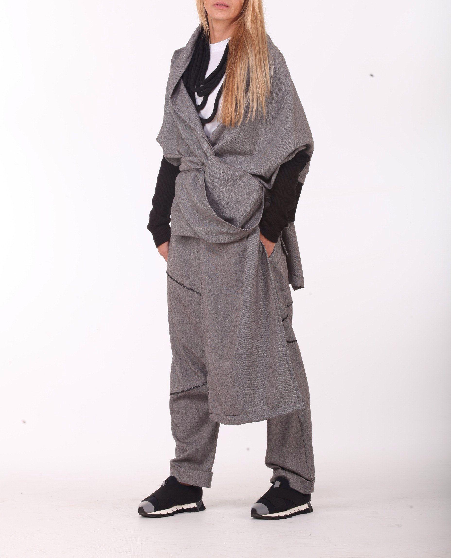 Long Sleeve Shirt /& Pants ConceptBG Fashion Costume Designer Sports Set Asymmetric Shirt Harem Pants