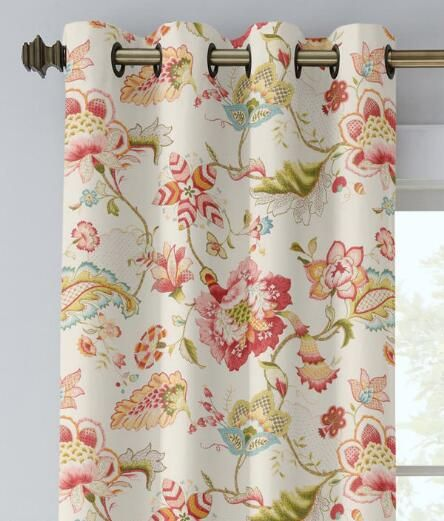 Jacobean Floral Lined Grommet Top Curtains   Country Curtains®