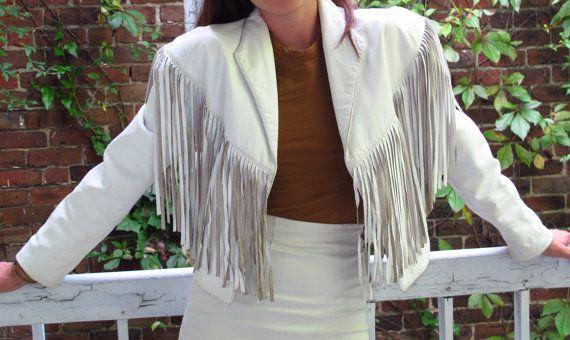 4210bf5d6 White Leather Fringe Jacket by Fernstyle on Etsy   80s   Fringe ...