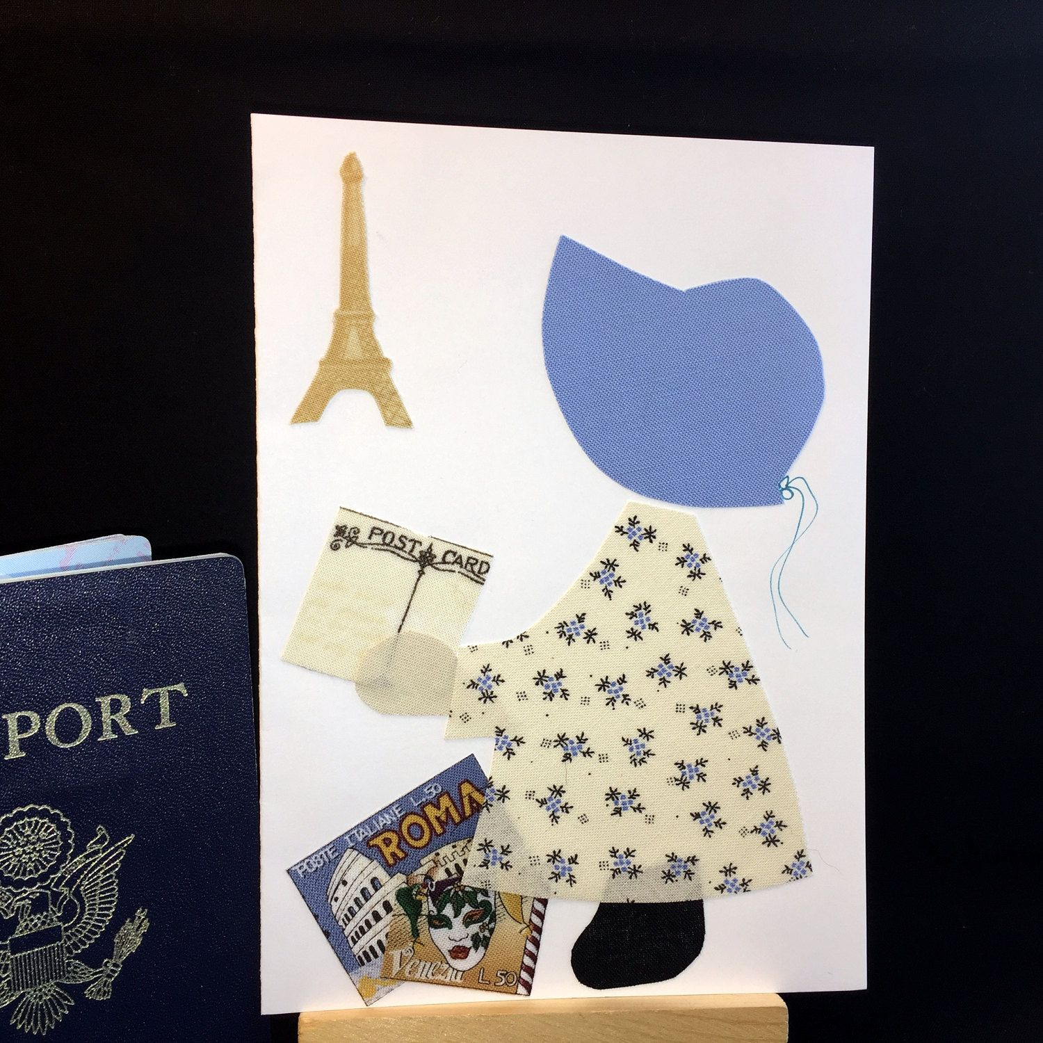 Ooak bon voyage card handmade recycled fabric greeting card ooak bon voyage card handmade recycled fabric greeting card blank card vacation card congratulations card retirement card anniversary kristyandbryce Image collections