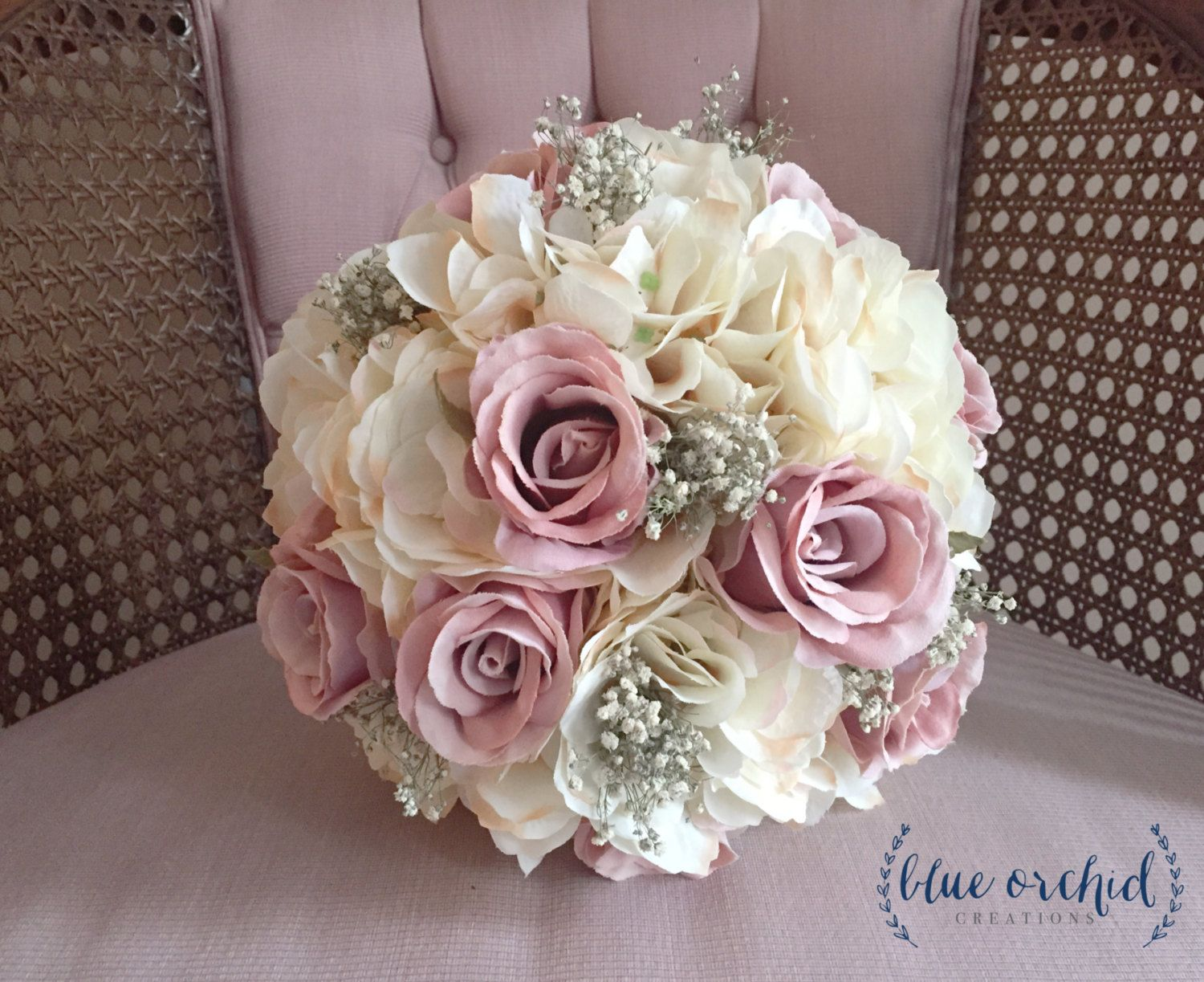 Bridal Bouquet, Rustic Bouquet, Dusty Rose Bouquet, Baby\'s Breath ...