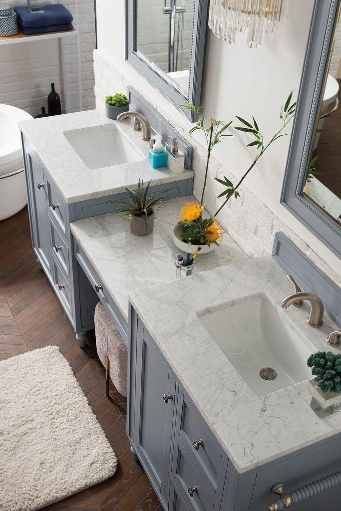 Photo of 86″ Copper Cove Encore Silver Gray Double Sink Bathroom Vanity