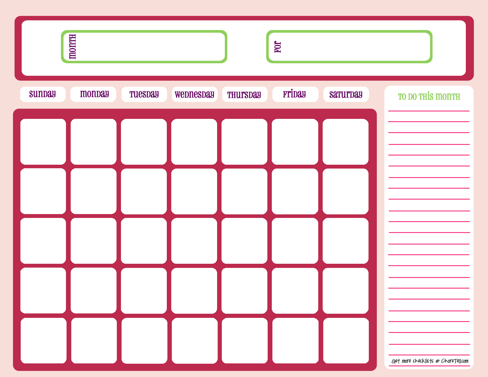 Blank month calendar – pinks | Free printable downloads from ...
