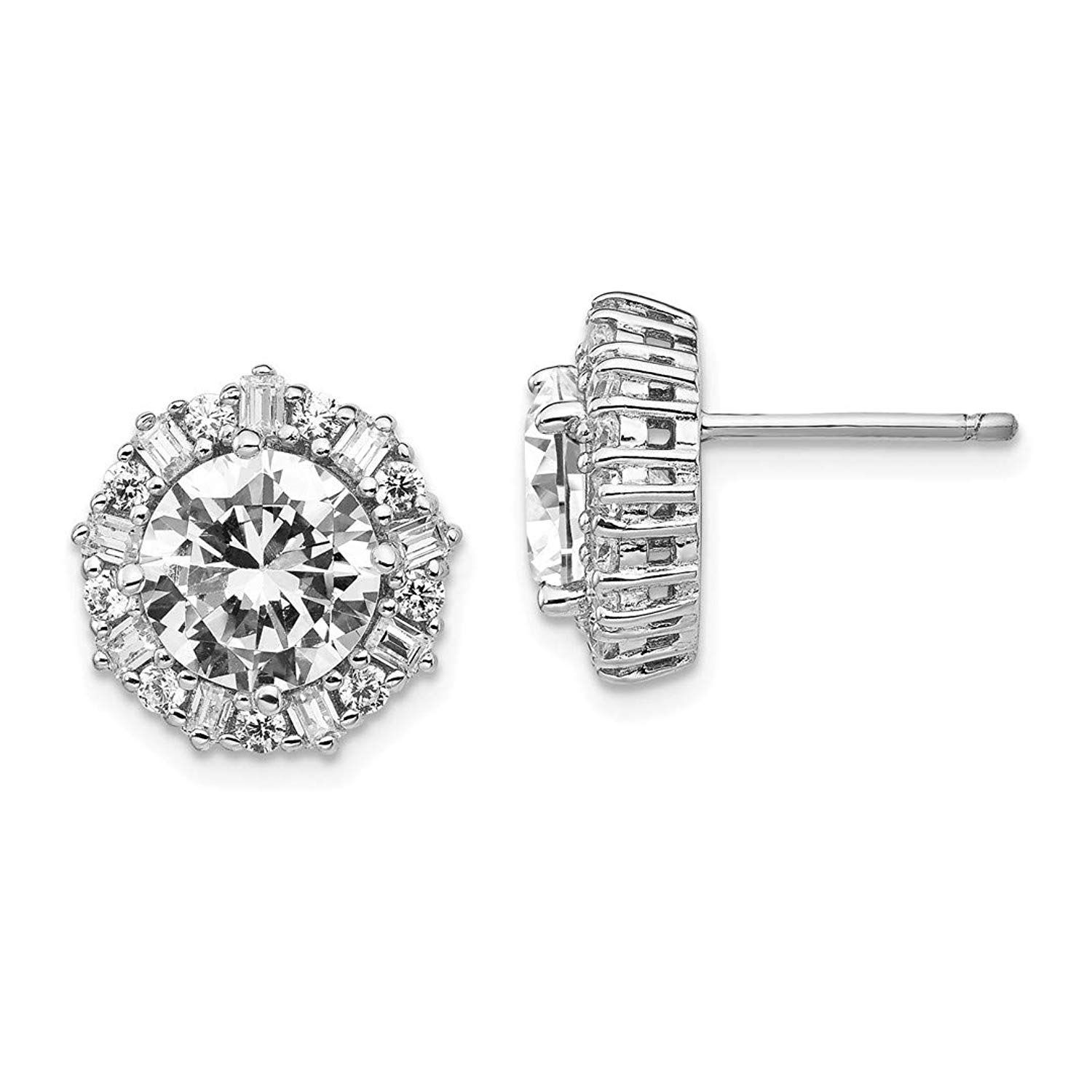 925 Sterling Silver Round Cubic Zirconia Cz Halo Post Stud Earrings Ball Button