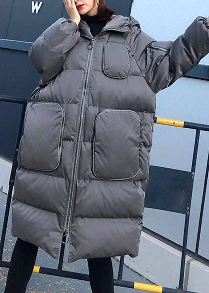 women trendy plus size winter jacket overcoat gray