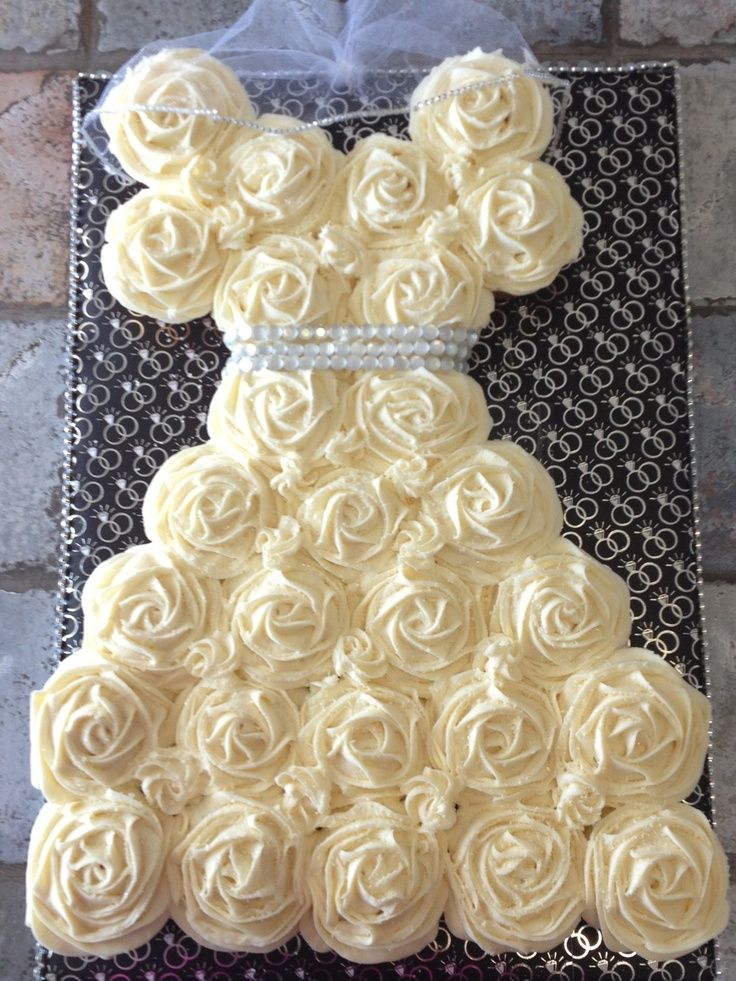 Bridal Shower Cupcake Wedding Dress With Veil Clark Laurent What About This Just Do All Cupcakes Instead Of A Cakes Not More Expensive