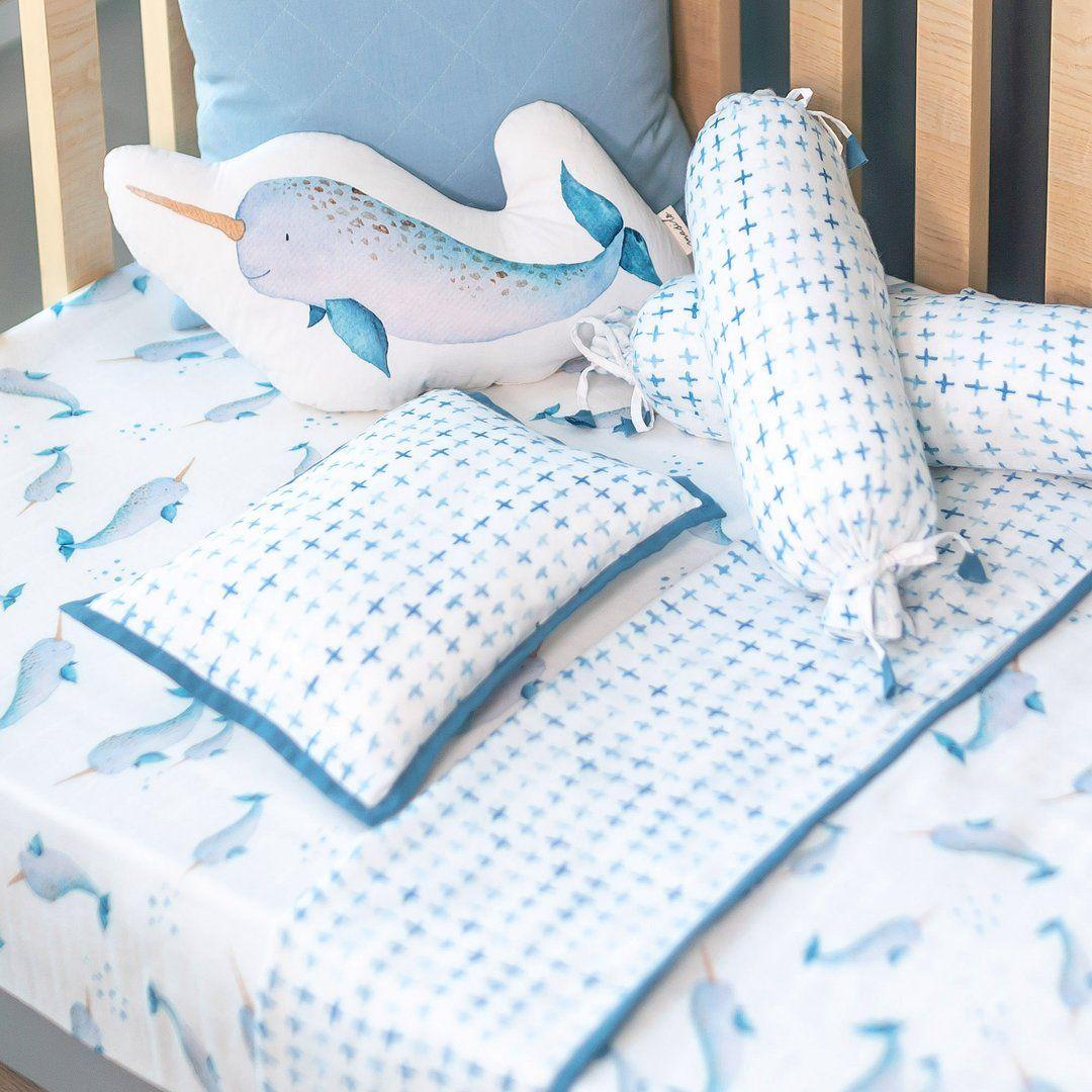 Bamboo Muslin Cot Bedding Set Believe In Narwhals Cot Bedding Sets Bamboo Muslin Cot Bedding