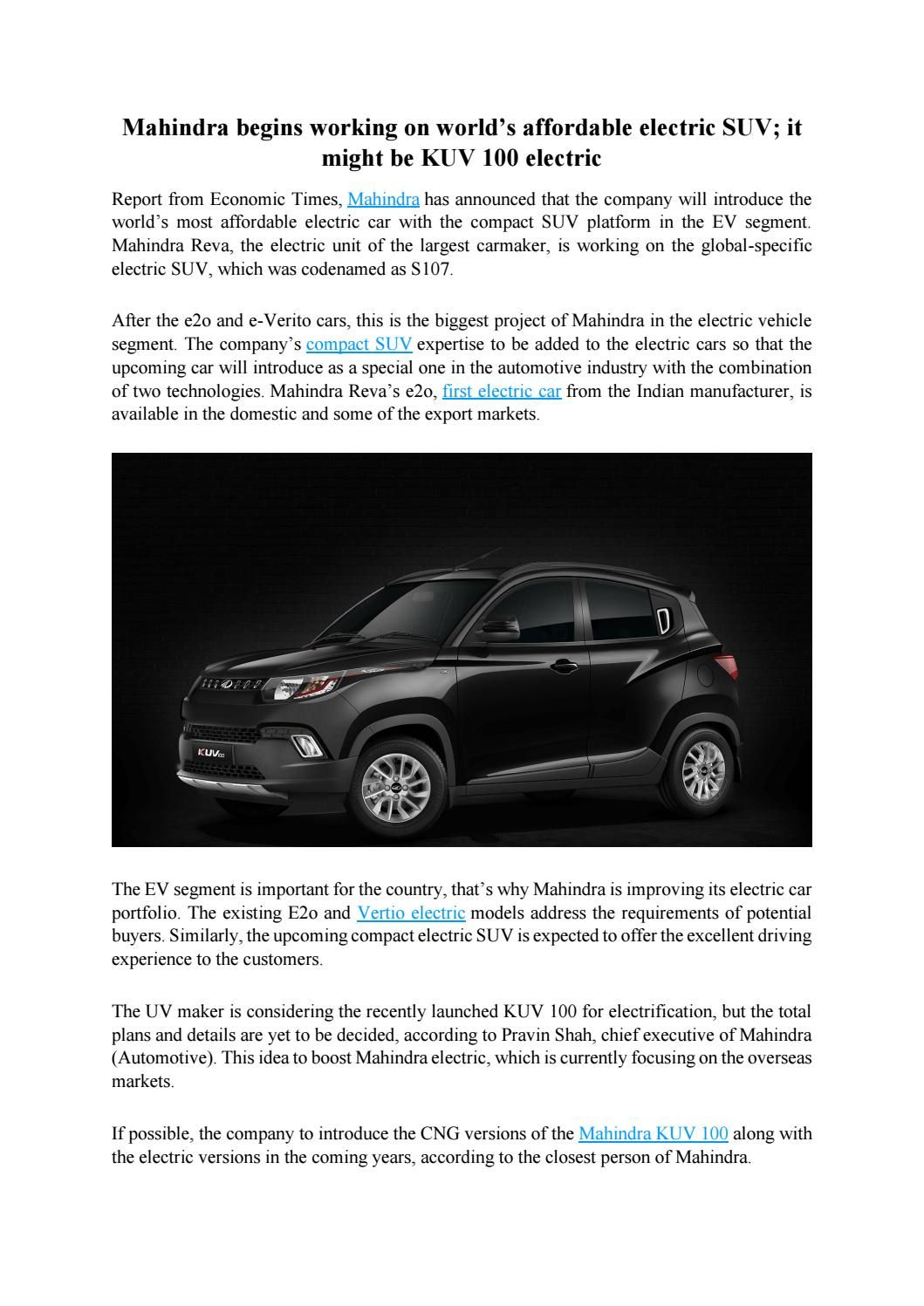 Mahindra begins working on world\'s affordable electric suv; it might ...