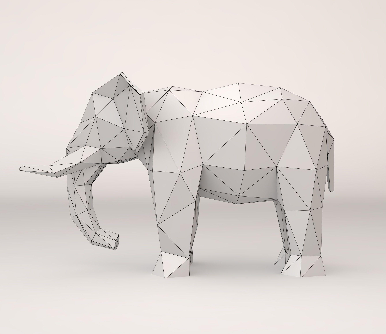 Elephant Geometrisches Tier Grafik Design Grafik