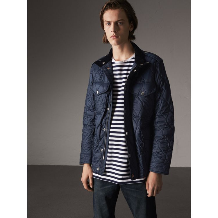 Diamond Quilted Field Jacket In Navy Men Diamond Quilt And Field