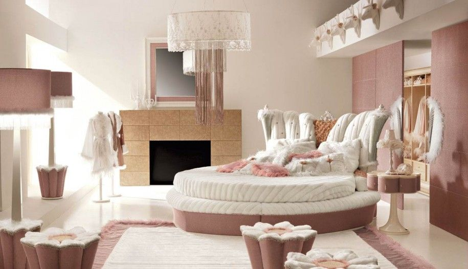 luxurious white and pink interior girls bedroom design with round bed