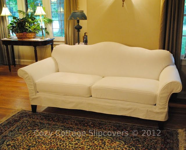 Camel Backed Sofa Slip Covered With 12 Oz Brushed White